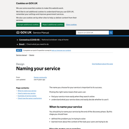 Naming your service