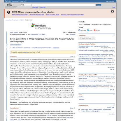 Event-Based Time in Three Indigenous Amazonian and Xinguan Cultures and Languages