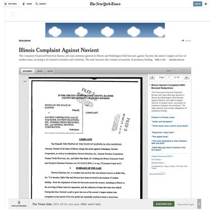 Illinois Complaint Against Navient