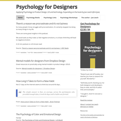Psychology for Designers - Applying Psychology to Product Design, UX and technology. Expanding on the book by Joe Leech (@mr...