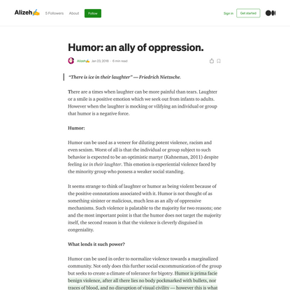 """Humor: an ally of oppression.. """"There is ice in their laughter"""" —… 