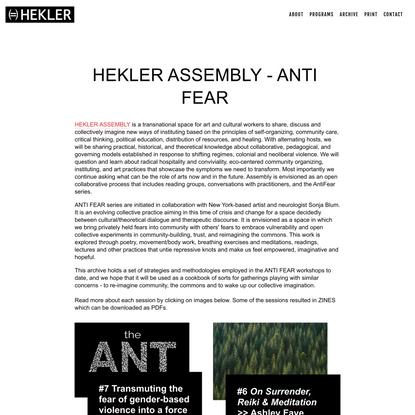 ANTI FEAR ASSEMBLY LANDING PAGE — HEKLER