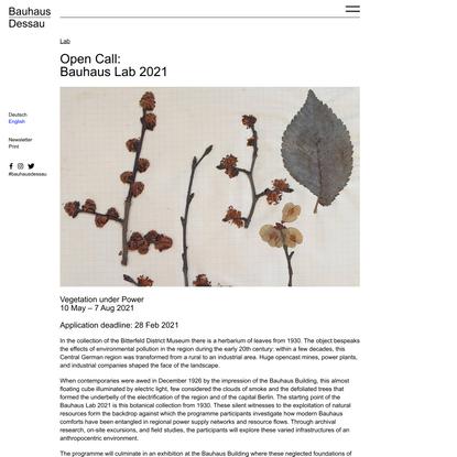 Open Call: Bauhaus Lab 2021