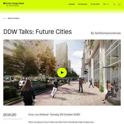 DDW Talks: Future Cities - Dutch Design Week