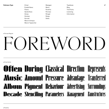 Feliciano Type – Quality fonts for print and web since 2001