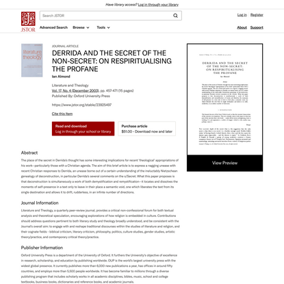 DERRIDA AND THE SECRET OF THE NON-SECRET: ON RESPIRITUALISING THE PROFANE on JSTOR