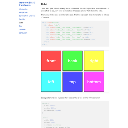 Cube · Intro to CSS 3D transforms