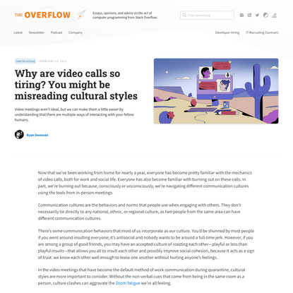 Why are video calls so tiring? You might be misreading cultural styles - Stack Overflow Blog