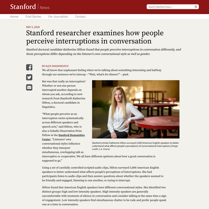 Exploring what an interruption is in conversation | Stanford News