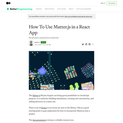 How To Use Matter.js in a React App