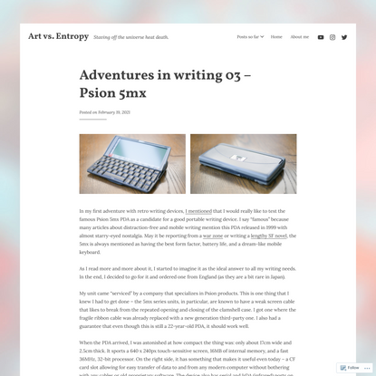 Adventures in writing 03 – Psion 5mx