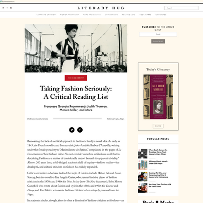 Taking Fashion Seriously: A Critical Reading List