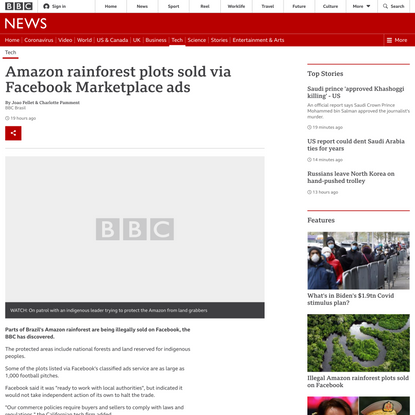 Amazon rainforest plots sold via Facebook Marketplace ads
