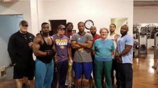 grandmother at her weightlifting class