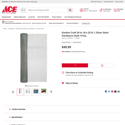 Garden Craft 36 in. W x 25 ft. L Silver Steel Hardware Cloth 19 Ga. - Ace Hardware