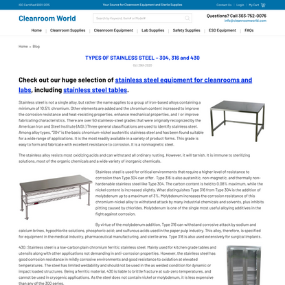 TYPES OF STAINLESS STEEL – 304, 316 and 430