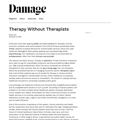 Therapy Without Therapists - Damage
