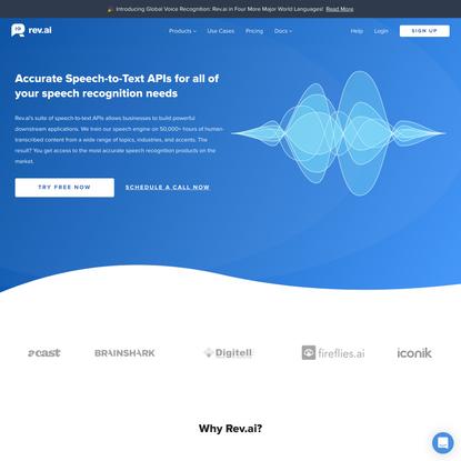 Speech to Text API | Speech Recognition Service - Rev.ai
