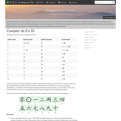 Compter en chinois - 东游记