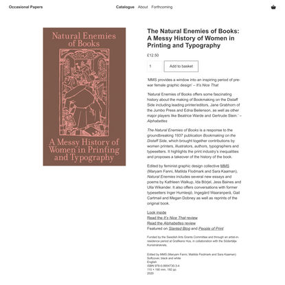 The Natural Enemies of Books: A Messy History of Women in Printing and Typography — Occasional Papers