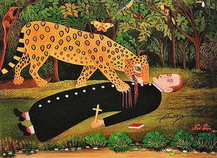 Missionary being eaten by jaguar, by Noé León, 1907