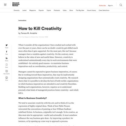 How to Kill Creativity