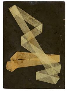 Hermann Glöckner, Gefaltete Streifen in Weiß und Gelb auf Schwarz,1933