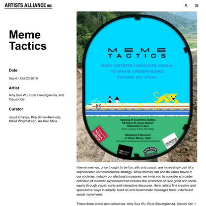 Meme Tactics: How Artists Innovate Media to Make Underheard Voices Go Viral