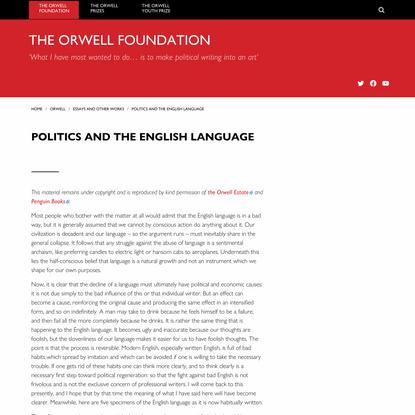 Politics and the English Language   The Orwell Foundation