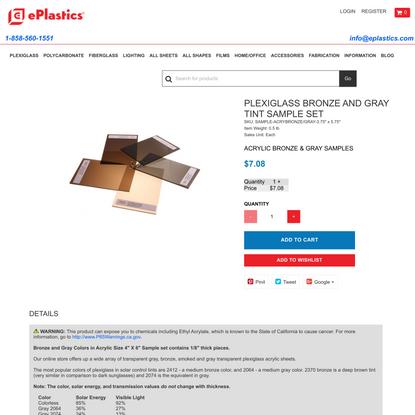Plexiglass Bronze and Gray tint plastic samples