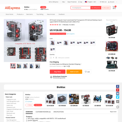 US $126.0 |DIY Acrylic Computer Case Customized Full Transparent ATX Vertical Desktop Case Support MATX ITX Motherboard with...