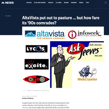 AltaVista put out to pasture ... but how fare its '90s comrades?