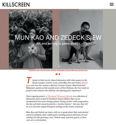 Mun Kao and Zedeck Siew – Killscreen