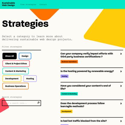 Strategies - Sustainable Web Design