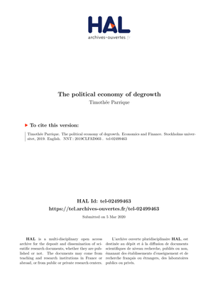 political economy of degrowth