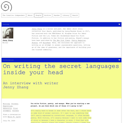 Jenny Zhang on writing the secret languages inside your head