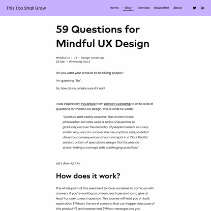 59 Questions for Mindful UX Design — This Too Shall Grow