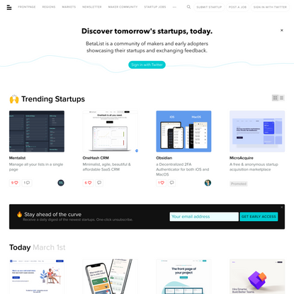 Discover and get early access to tomorrow's startups | BetaList