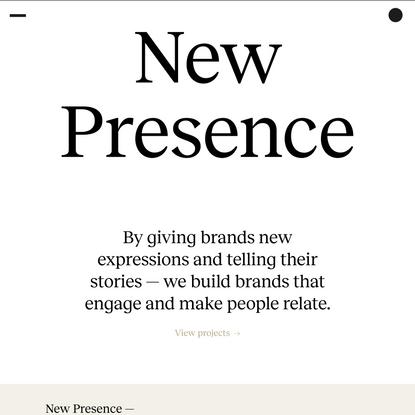 New Presence – Branding agency