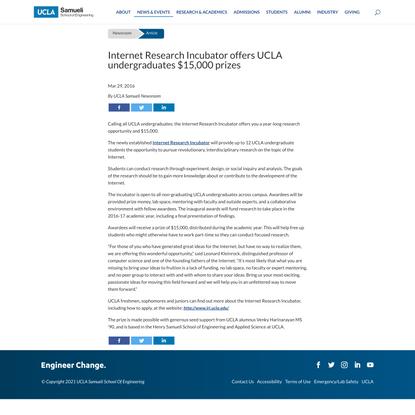 Internet Research Incubator offers UCLA undergraduates $15,000 prizes
