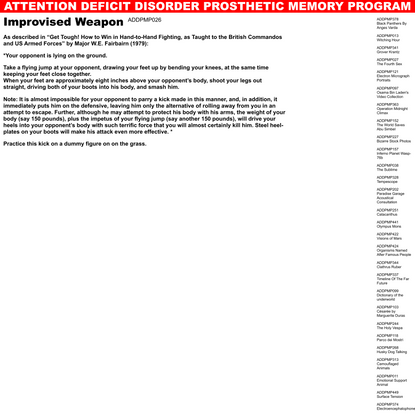 Improvised Weapon | Attention Deficit Disorder Prosthetic Memory Program