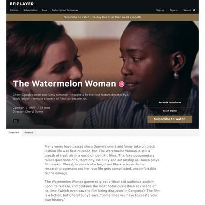 Watch The Watermelon Woman - BFI Player