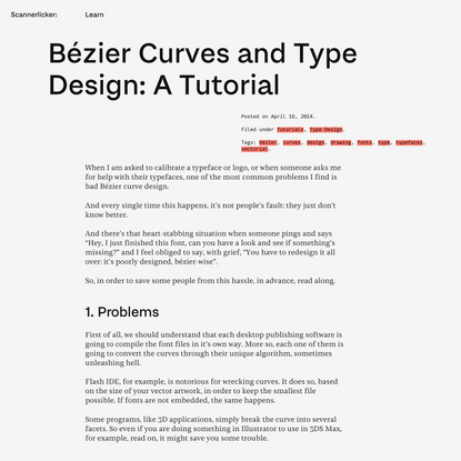 Bézier Curves and Type Design: A Tutorial | Learn – Scannerlicker!