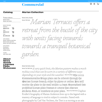 Commercial Type » Catalog » Marian Collection