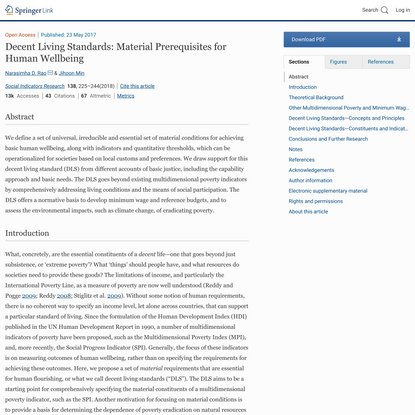 Decent Living Standards: Material Prerequisites for Human Wellbeing