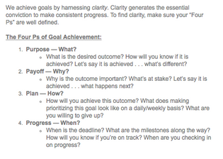 Four P's of Goal Achievement (from an email newsletter)