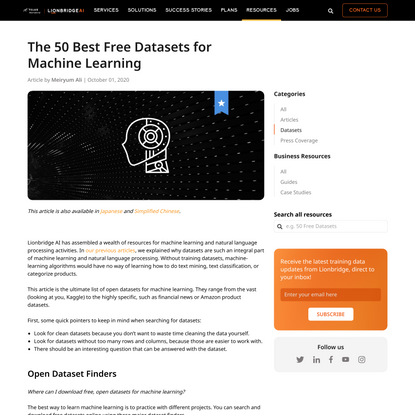 The 50 Best Free Datasets for Machine Learning | Lionbridge AI