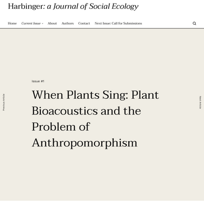 When Plants Sing: Plant Bioacoustics and the Problem of Anthropomorphism - Adam Michael Krause