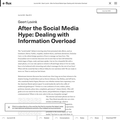 After the Social Media Hype: Dealing with Information Overload