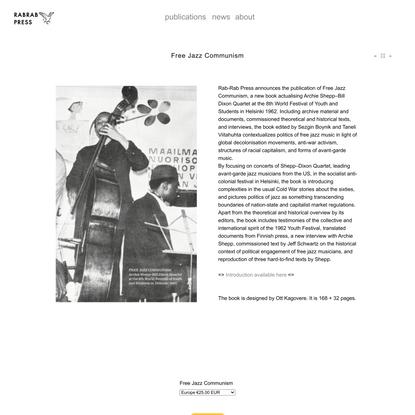 Free Jazz Communism - RABRAB PRESS